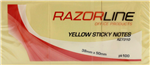 RAZORLINE STICKY NOTES 38 X 50MM YELLOW PACK 3