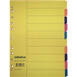 INITIATIVE DIVIDERS MANILLA 10 TAB A4 BRIGHT COLOURS