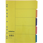 INITIATIVE DIVIDERS MANILLA 5TAB A4 BRIGHT COLOURS