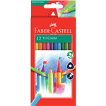 FABERCASTELL TRIANGULAR COLOUR PENCILS ASSORTED PACK 12