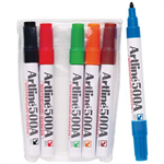 ARTLINE 500A WHITEBOARD MARKER BULLET 2MM ASSORTED WALLET 6