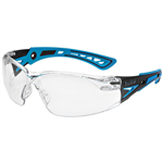BOLLE SAFETY RUSH PLUS SMALL SAFETY GLASSES BLUE AND BLACK ARMS CLEAR LENS