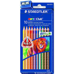 STAEDTLER 128 NORIS CLUB JUMBO TRIANGULAR COLOURED PENCILS ASSORTED BOX 10