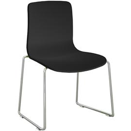 DAL ACTI CHAIR SLED BASE CHROME FRAME BLACK SHELL